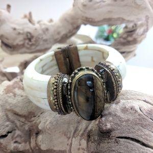 Vintage Bone Tigerseye Bangle Bracelet